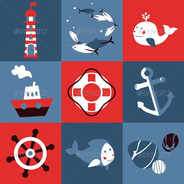 Vector Set with Nautical Design Elements - Decorative Symbols Decorative
