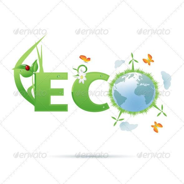 Eco-Planet Text Symbol - Flowers & Plants Nature