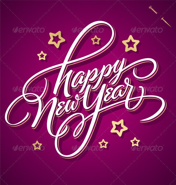 'Happy New Year' Hand Lettering (Vector) - New Year Seasons/Holidays
