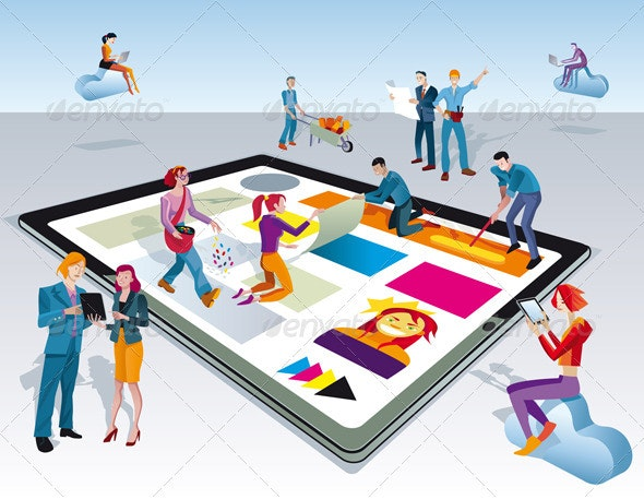 People Creating Digital Tablet Content - Web Technology