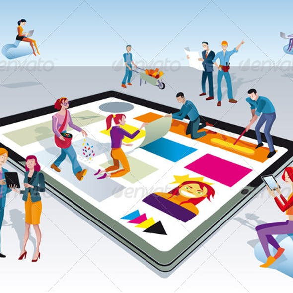 People Creating Digital Tablet Content