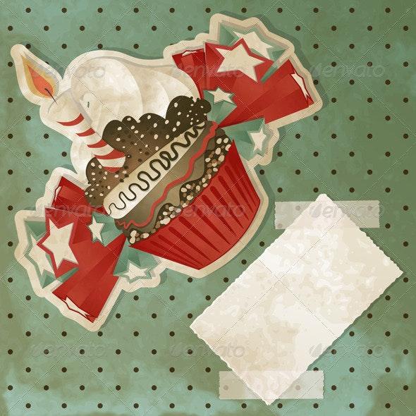 Vintage Birthday Cupcake - Birthdays Seasons/Holidays