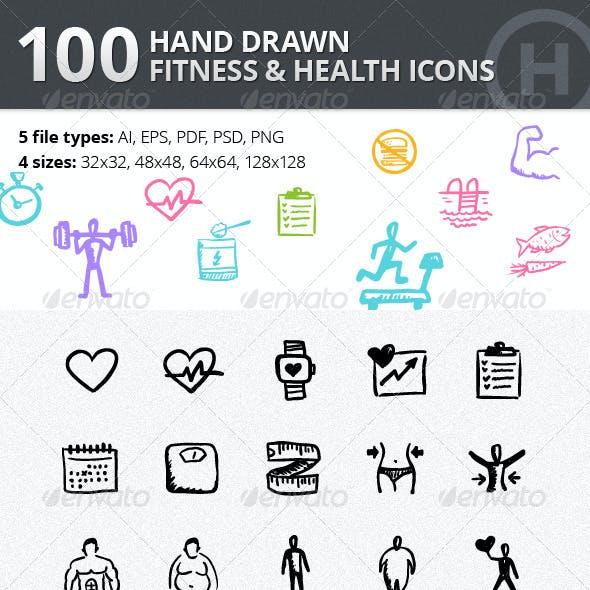 100 Hand-drawn Fitness and Health Icons
