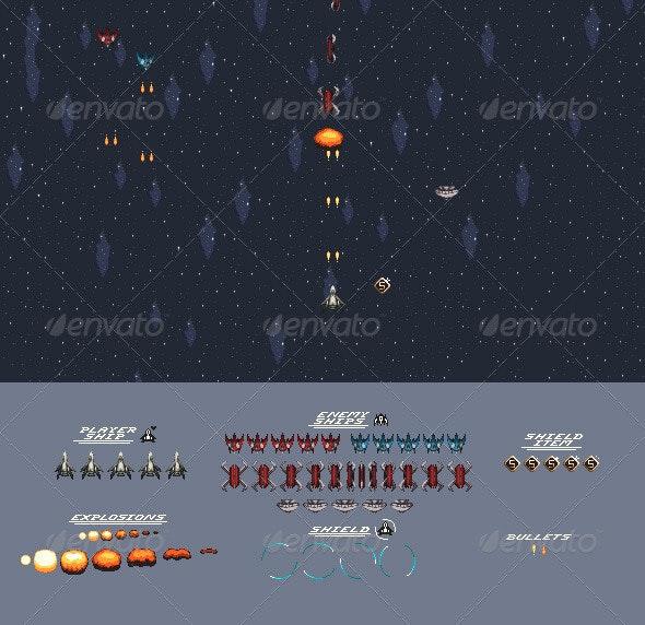Space Shooter Sprites - Sprites Game Assets