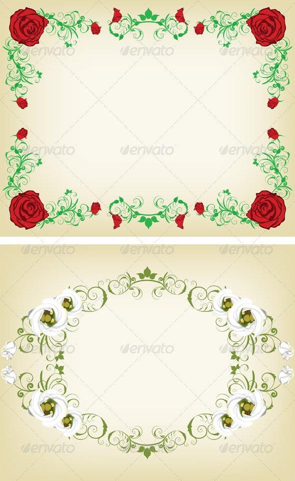 Vintage Floral Frame Set - Flowers & Plants Nature
