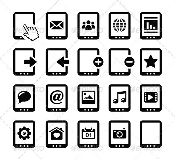 Tablet Black Icons Set - Web Technology