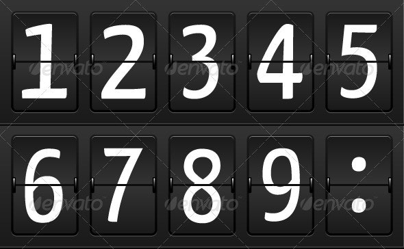 Numbers for Airport Time table - Man-made Objects Objects