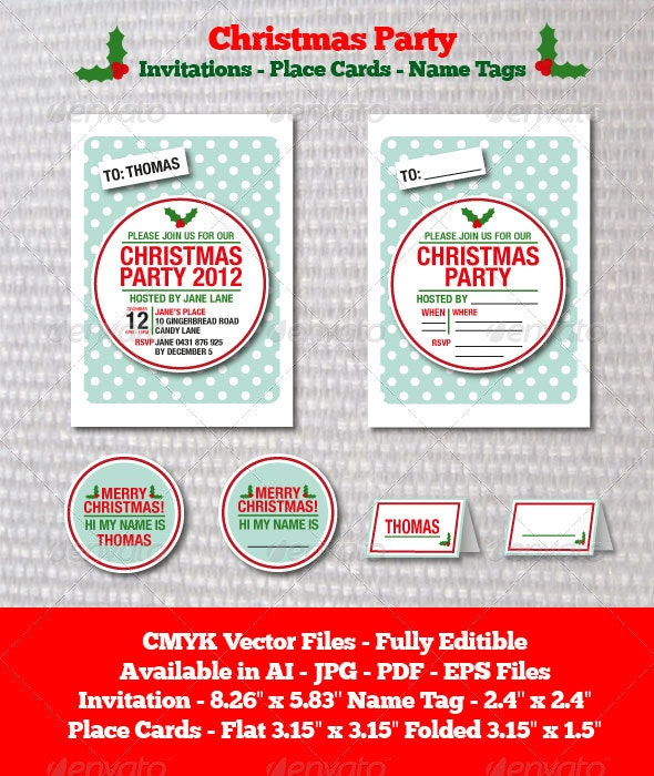 Christmas Party Invitation Template - Cards & Invites Print Templates
