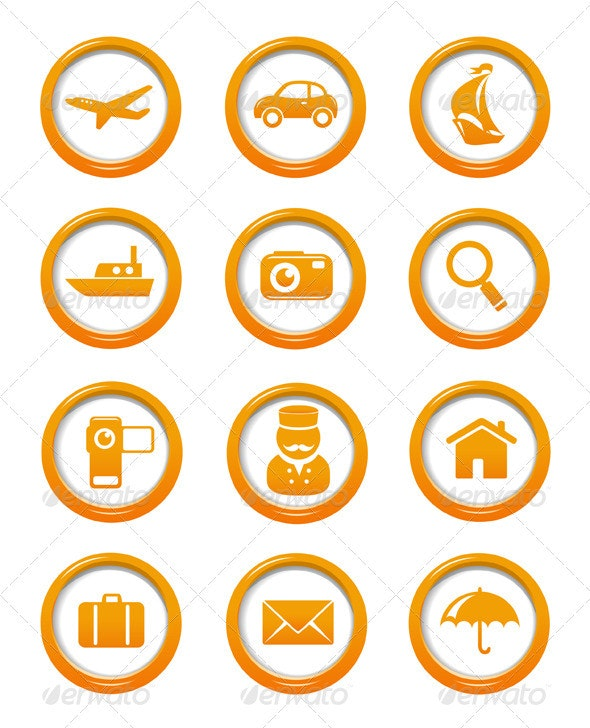 Travel And Transportation Web Buttons Set - Travel Conceptual