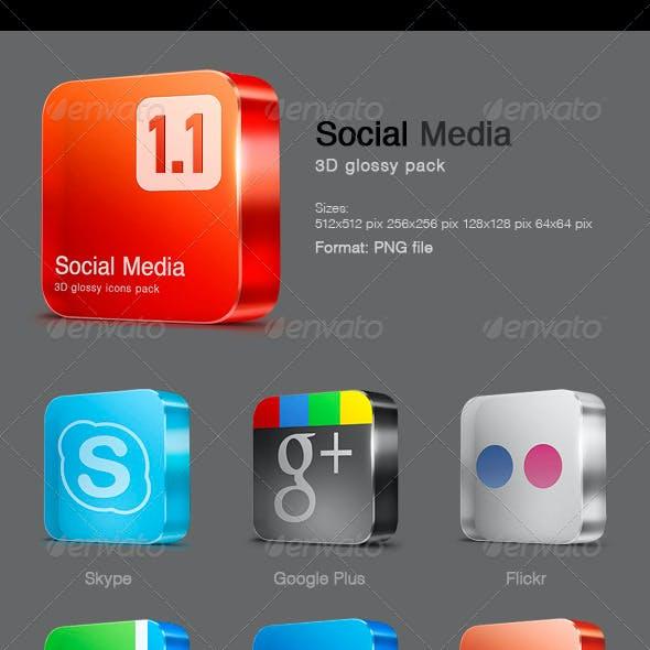 15 Glossy Social Media icons v 1.1