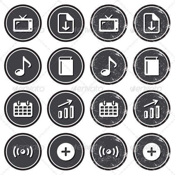 Website Navigation Icons on Retro Labels Set