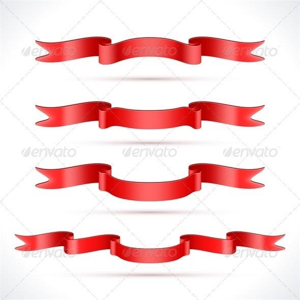 Red Ribbons - Decorative Vectors