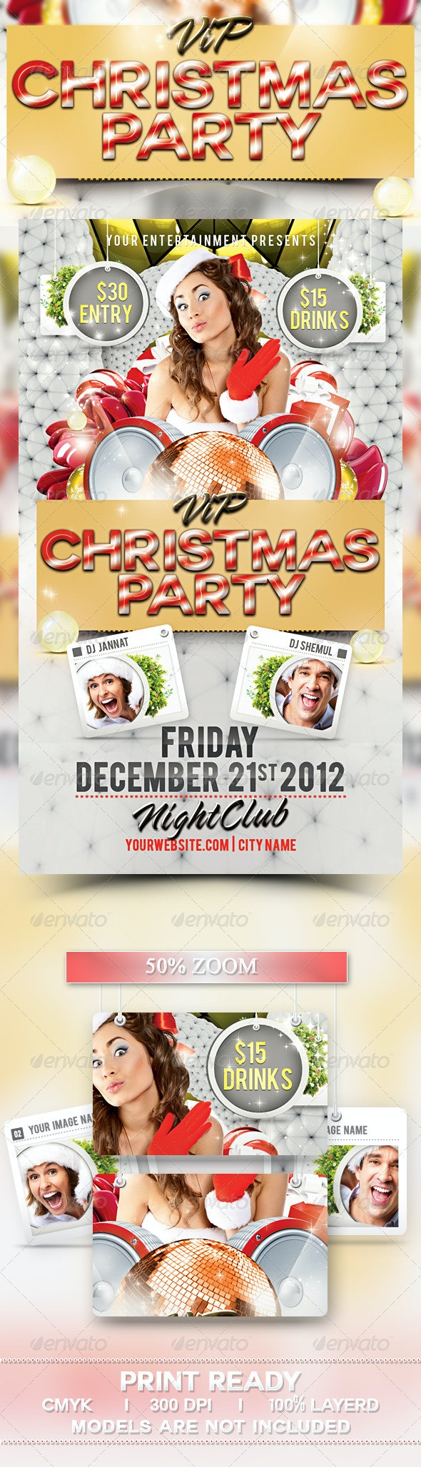 VIP Christmas Party Flyer Template - Clubs & Parties Events