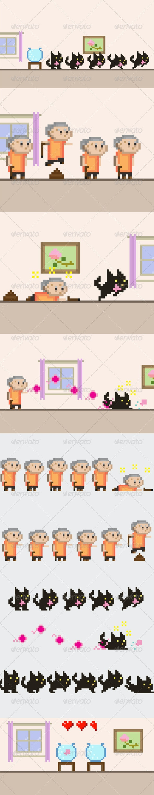 Grandma VS Black Cat Sprite Sheet - Sprites Game Assets