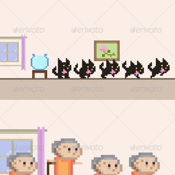 Grandma VS Black Cat Sprite Sheet