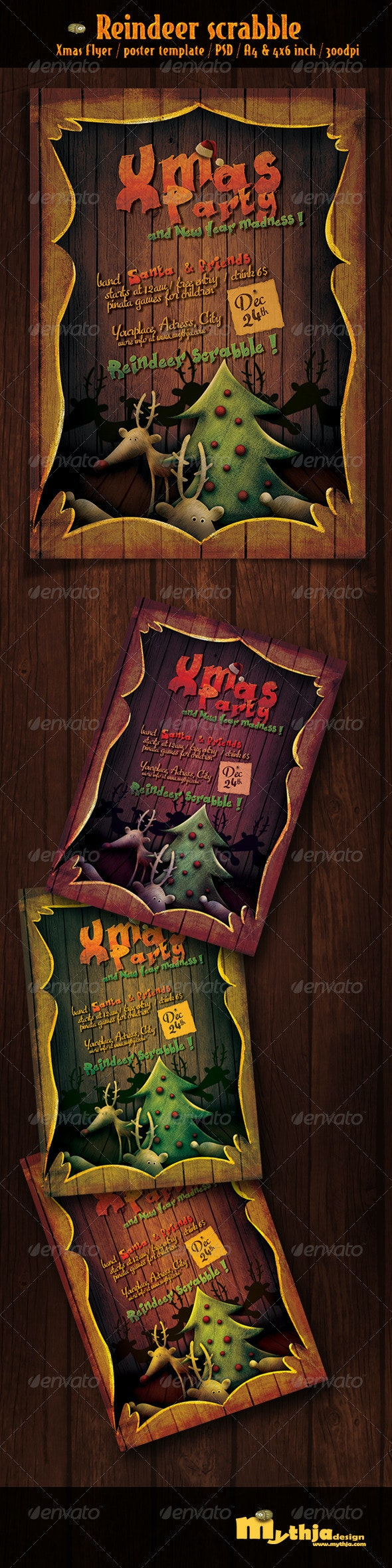 Reindeer Scrabble - Xmas flyer/poster template - Holidays Events