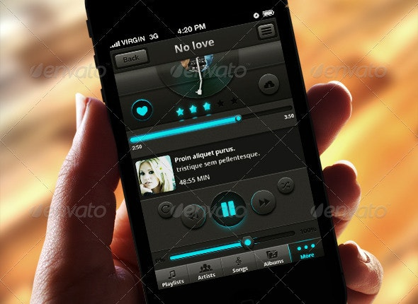 Melody - Music & Video App for IPhone - User Interfaces Web Elements