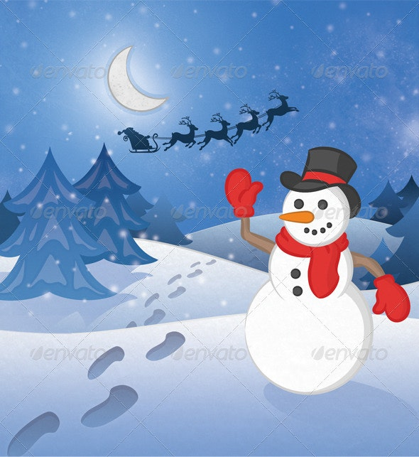 Christmas Snowman - Seasonal Photo Templates