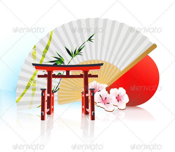 Decorative Traditional Japanese Background - Travel Conceptual
