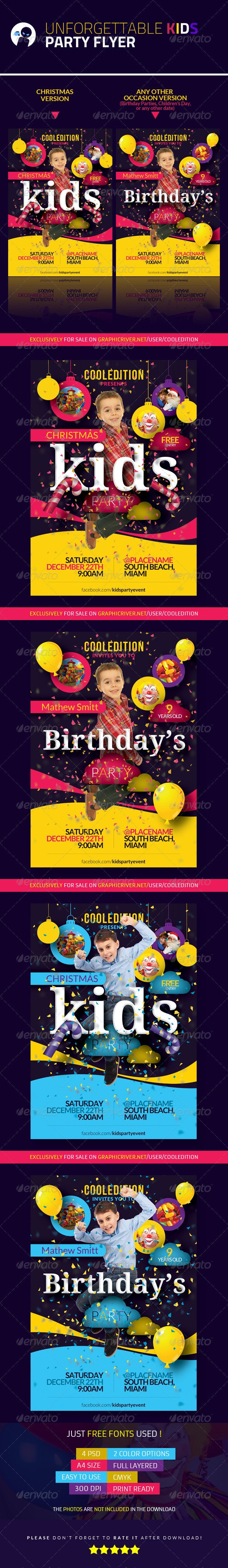Unforgettable Kids Party Flyer - Clubs & Parties Events