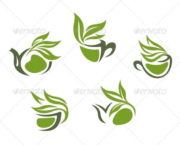 Green Herbal Tea Symbols - Food Objects