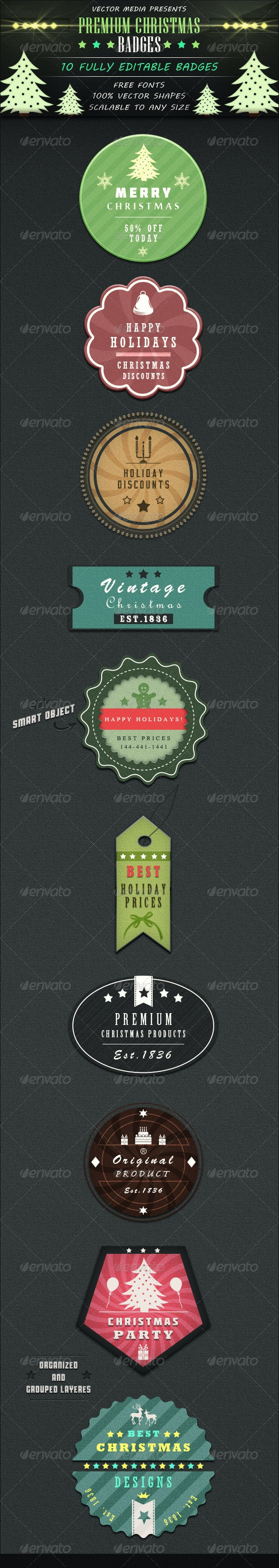 Premium Christmas Badges