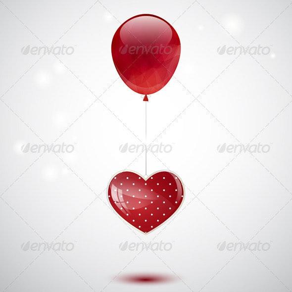 Heart and Balloon - Valentines Seasons/Holidays