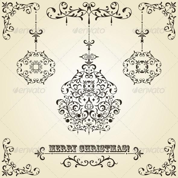 Vector Vintage Christmas Greeting Card with Tree - Christmas Seasons/Holidays