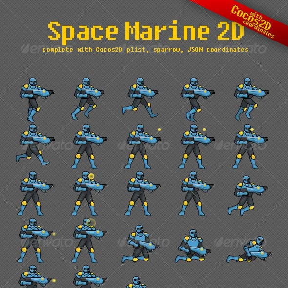 Space Marine Game Sprite Sheet with Coordinates