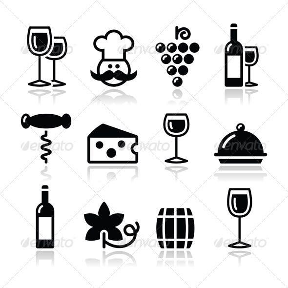 Wine Icons Set - Glass, Bottle, Restaurant, Food