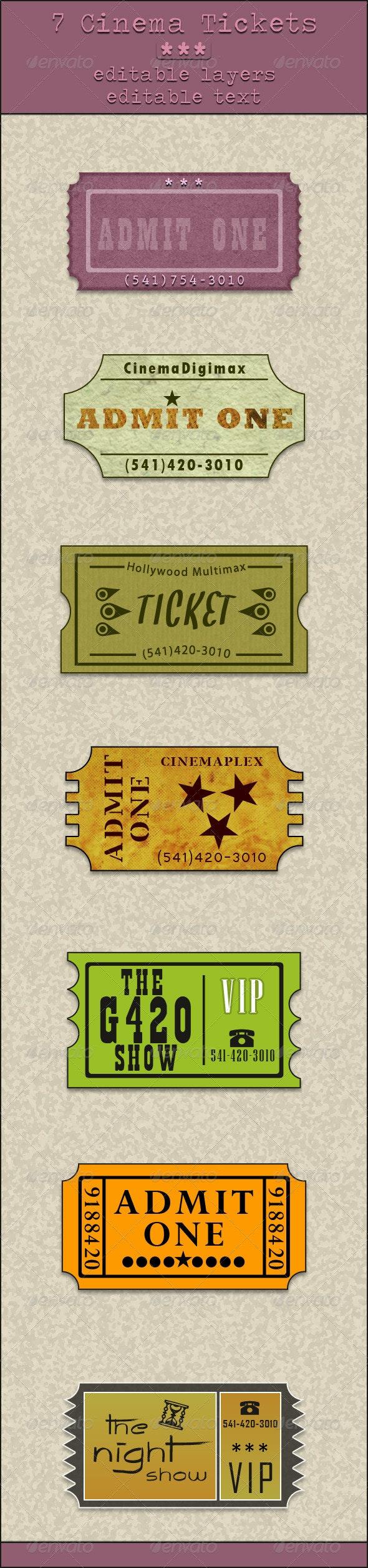 7 Cinema Tickets - Badges & Stickers Web Elements