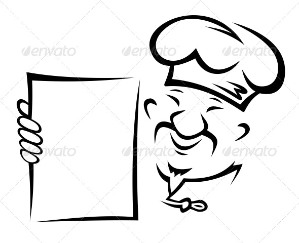 Chinese Chef with Menu - People Characters