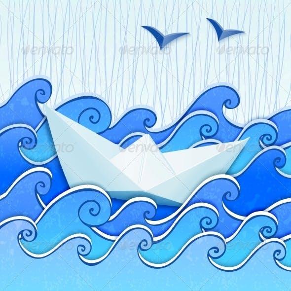 Paper Boat in the Blue Sea