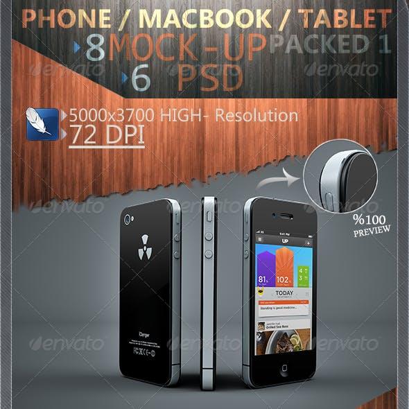 Phone / Macbook / Tablet Mock-Ups Packed 1