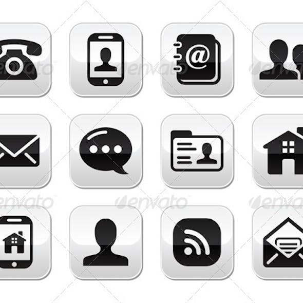 Contact Black Buttons Set - Mobile, Phone, Email