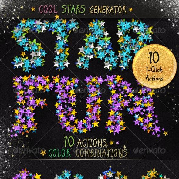 Stars Glitter Sequins Photoshop Action Generator