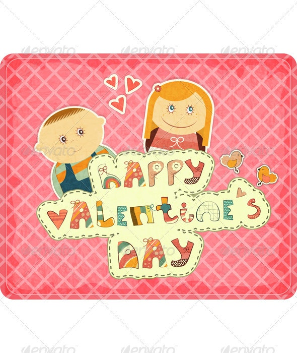 Vintage Design Valentines Day Card - Valentines Seasons/Holidays