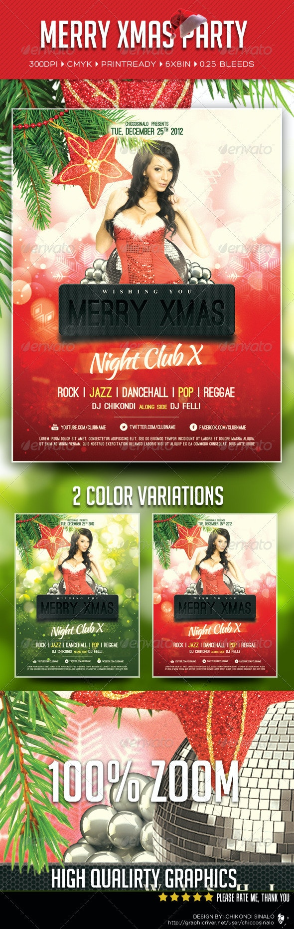 Merry Xmas Party Flyer Template - Holidays Events