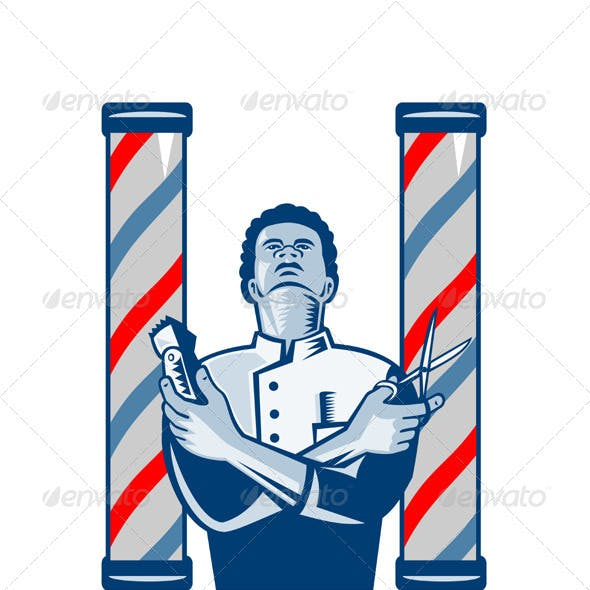 Barber With Pole Hair Clipper and Scissors Retro
