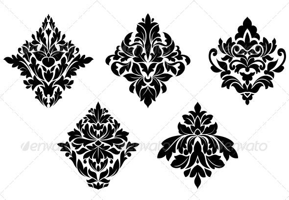 Set of Vintage Floral Patterns and Embellishments - Decorative Symbols Decorative