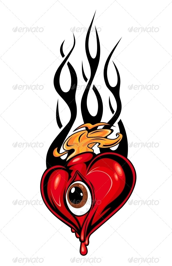 Heart Tattoo or Mascot with Eye and Tribal Flames - Tattoos Vectors