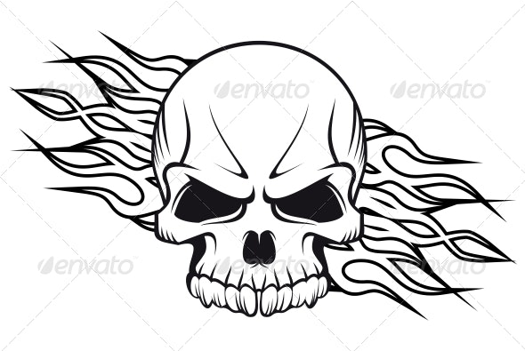 Human Skull with Flames