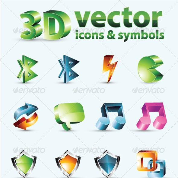 3D Vector Icons Or Symbols