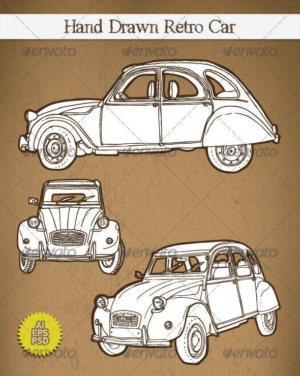 Hand Drawn Retro Car 2CV - Travel Conceptual