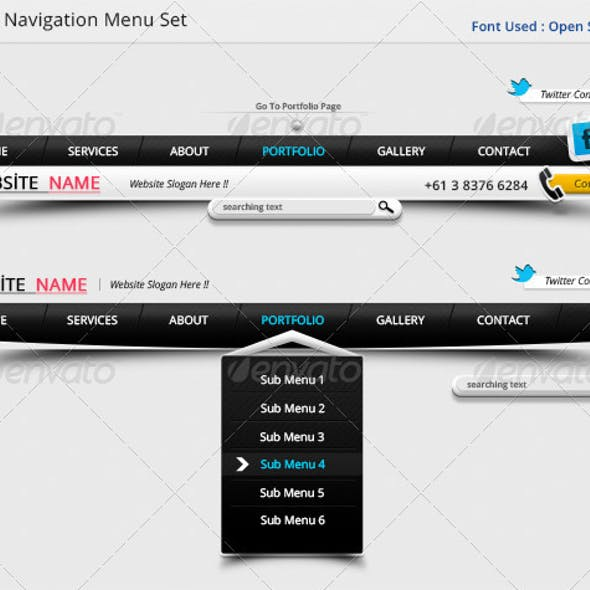 Clean Navigation Menu Set !!