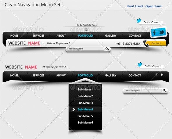 Clean Navigation Menu Set !!  - Navigation Bars Web Elements