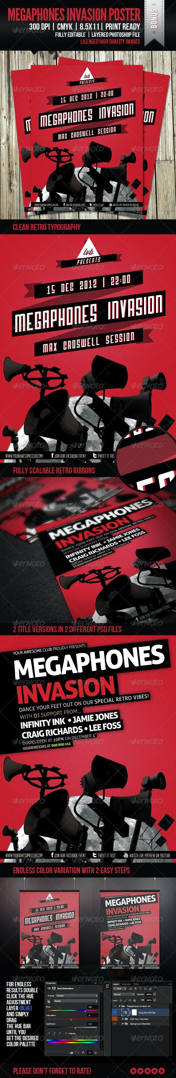 Megaphones Invasion Poster - Clubs & Parties Events