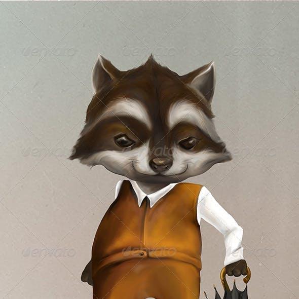 Raccoon Dressed Up