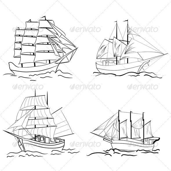 Set of Sailing Vessel Sketches