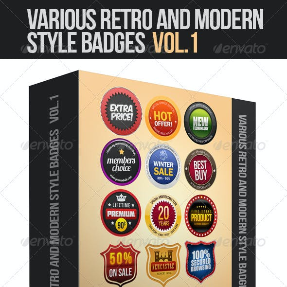 Various Retro And Modern Style Badges Vol.1